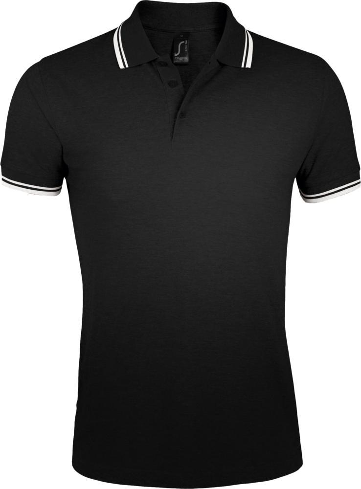Рубашка поло мужская PASADENA MEN 200 с контрастной отделкой черная с белым, размер XXL фото