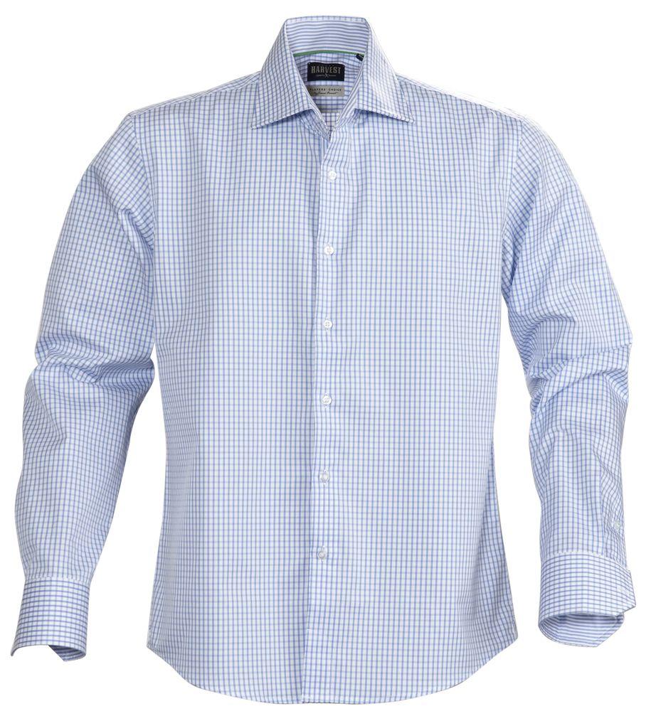 Рубашка мужская в клетку TRIBECA, голубая, размер L фото