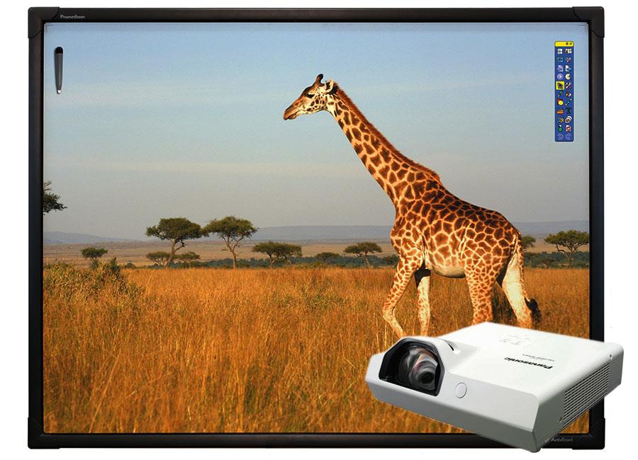 """Интерактивная доска Promethean ActivBoard Touch 78"""" Dry Erase 10 касаний, ПО ActivInspire в комплекте с проектором Panasonic PT-TX340 и настенным креплением"""