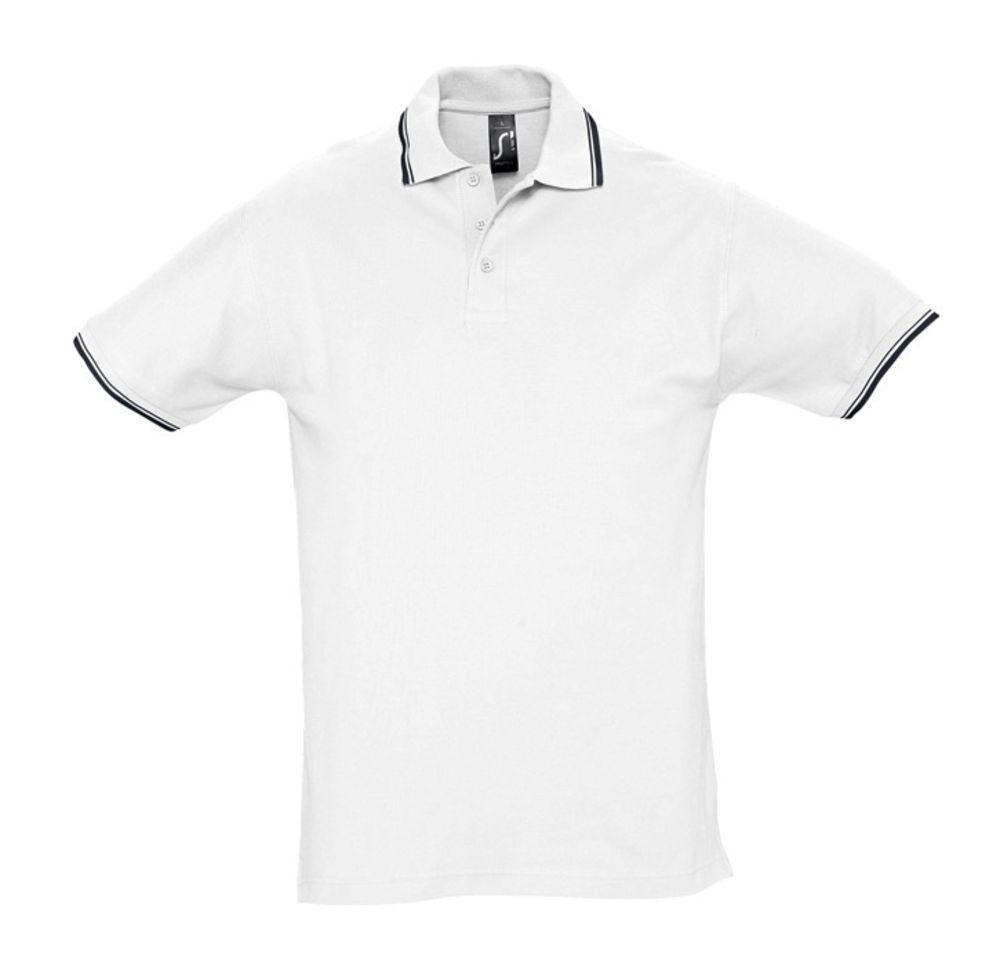 Рубашка поло мужская с контрастной отделкой PRACTICE 270, белый/темно-синий, размер S рубашка мужская oodji lab цвет темно синий 3l110267m 47120n 7900b размер 42 182 52 182