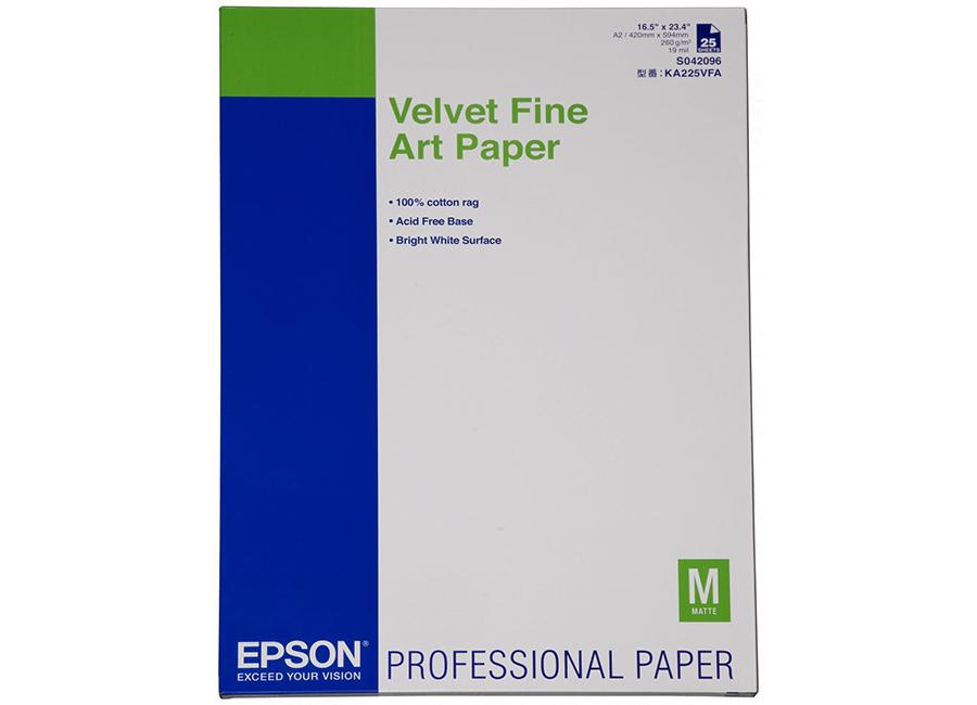 Фото - Epson Velvet Fine Art Paper A2, 260 г/м2, 25 листов (C13S042096) somerset velvet fine art paper 44 255 г м2 1 118x15 м 76 мм c13s041703