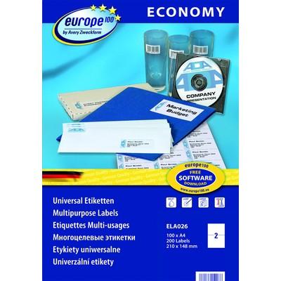 Самоклеящиеся этикетки Europe100 ELA026 avery zweckform этикетки самоклеящиеся универсальные 105 х 41 мм 1400 шт 100 листов