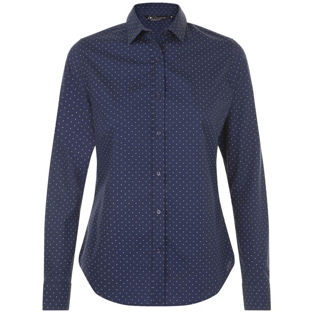 Рубашка женская BECKER WOMEN, темно-синяя с белым, размер XS блузка женская adl цвет темно синий 13026559014 118 размер xs 40 42