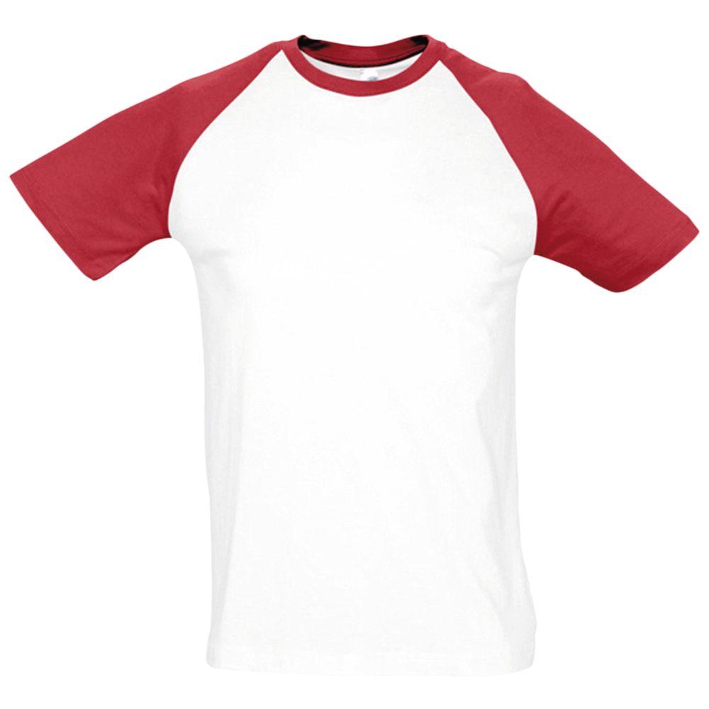 Футболка мужская двухцветная FUNKY 150, белый/красный, размер L платье oodji ultra цвет красный белый 14001071 13 46148 4512s размер xs 42 170