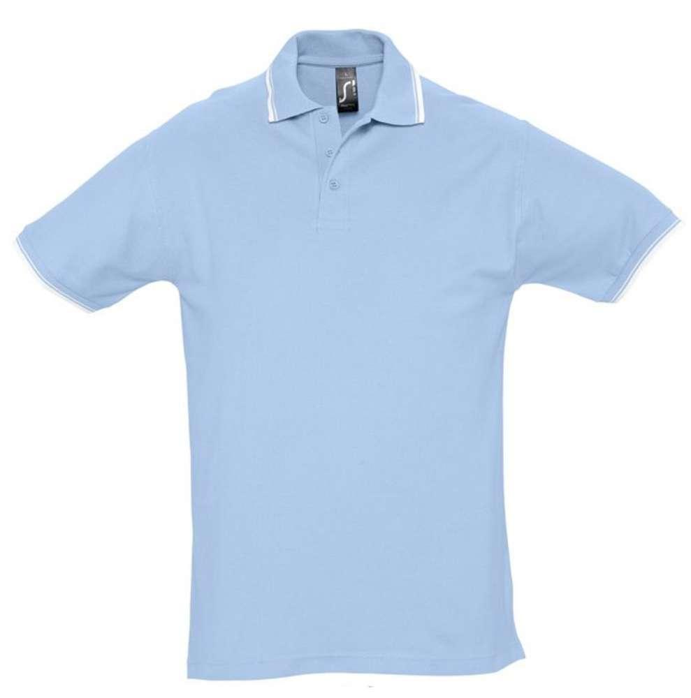 Рубашка поло мужская с контрастной отделкой PRACTICE 270, голубой/белый, размер XXL футболка мужская с контрастной отделкой madison 170 красный белый размер xxl