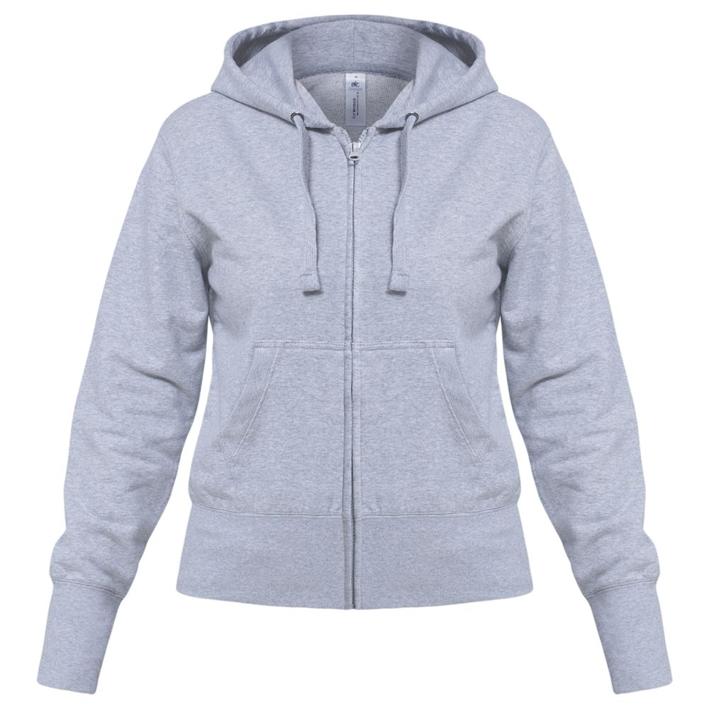 Толстовка женская Hooded Full Zip серый меланж, размер M толстовка женская oodji ultra цвет серый белый 16907003 1 48338 2310z размер xxs 40