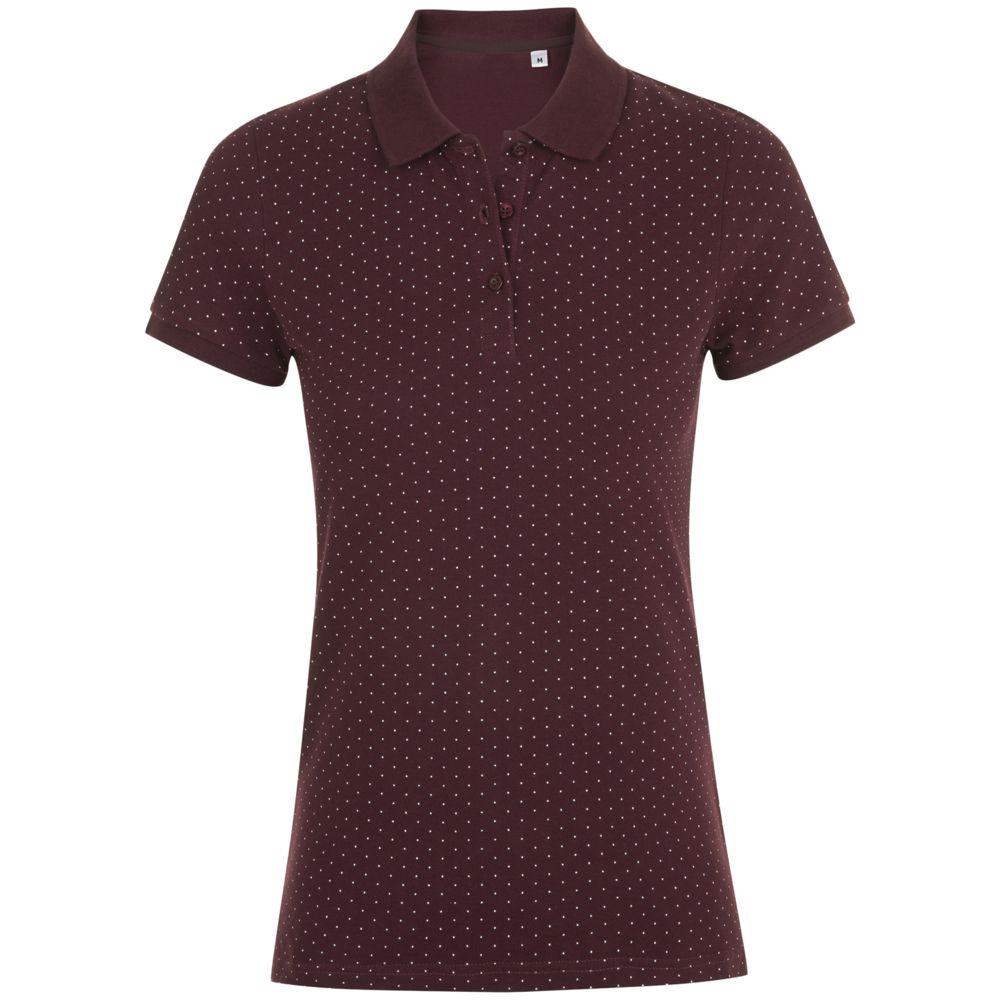 Рубашка поло женская BRANDY WOMEN, бордовая с белым, размер M фото