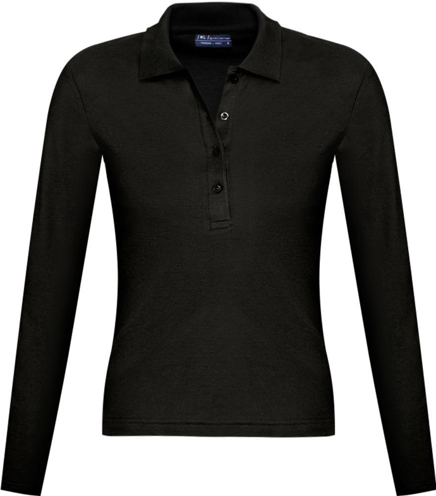 Рубашка поло женская с длинным рукавом PODIUM 210 черная, размер XL фото