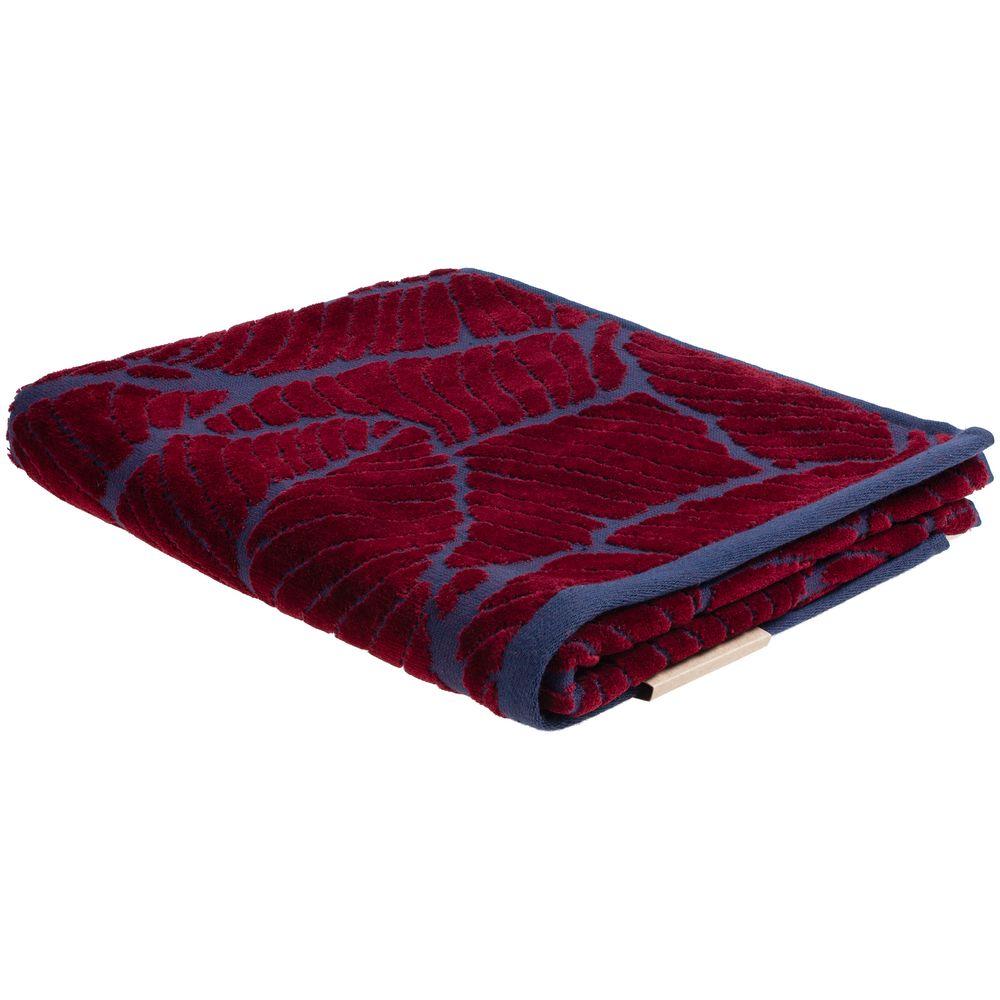 Полотенце In Leaf, малое, синее с бордовым полотенце с именной вышивкой синее