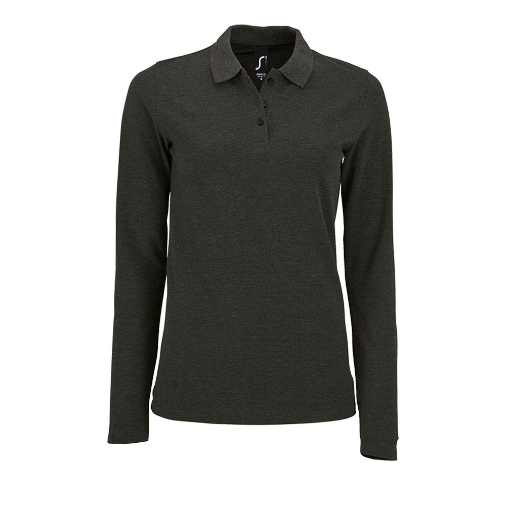 Рубашка поло женская с длинным рукавом PERFECT LSL WOMEN черный меланж, размер XL рубашка поло женская perfect women 180 серый меланж размер xl