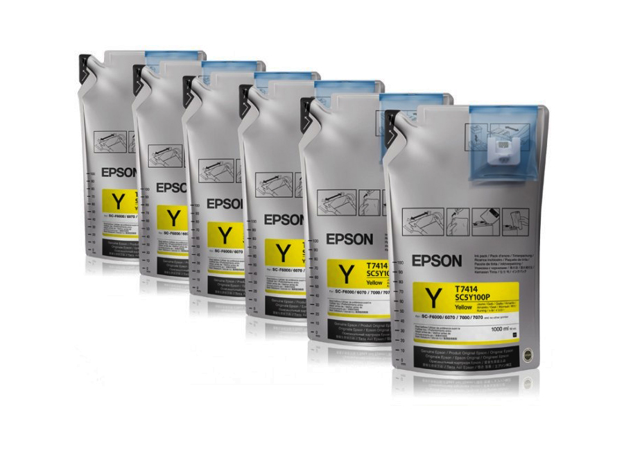 Набор контейнеров Epson T7414 Yellow 6x1000 мл (C13T773440) epson t5804 yellow 80 мл c13t580400