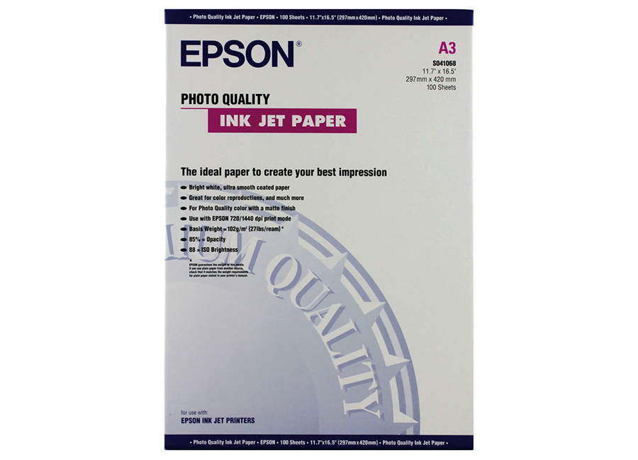 Epson Photo Quality Ink Jet Paper, A3, 102 г/м2, 100 листов (C13S041068)