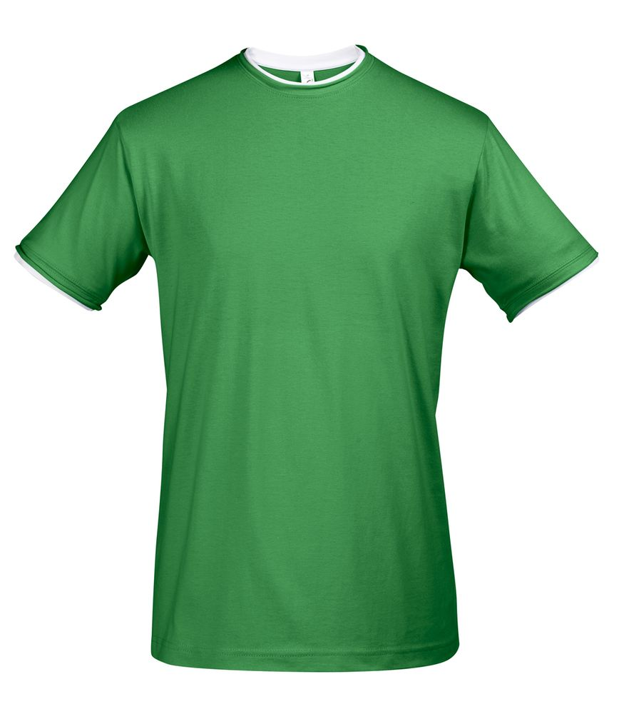 Футболка мужская с контрастной отделкой MADISON 170, насыщенный зеленый/белый, размер M футболка мужская с контрастной отделкой madison 170 красный белый размер xxl