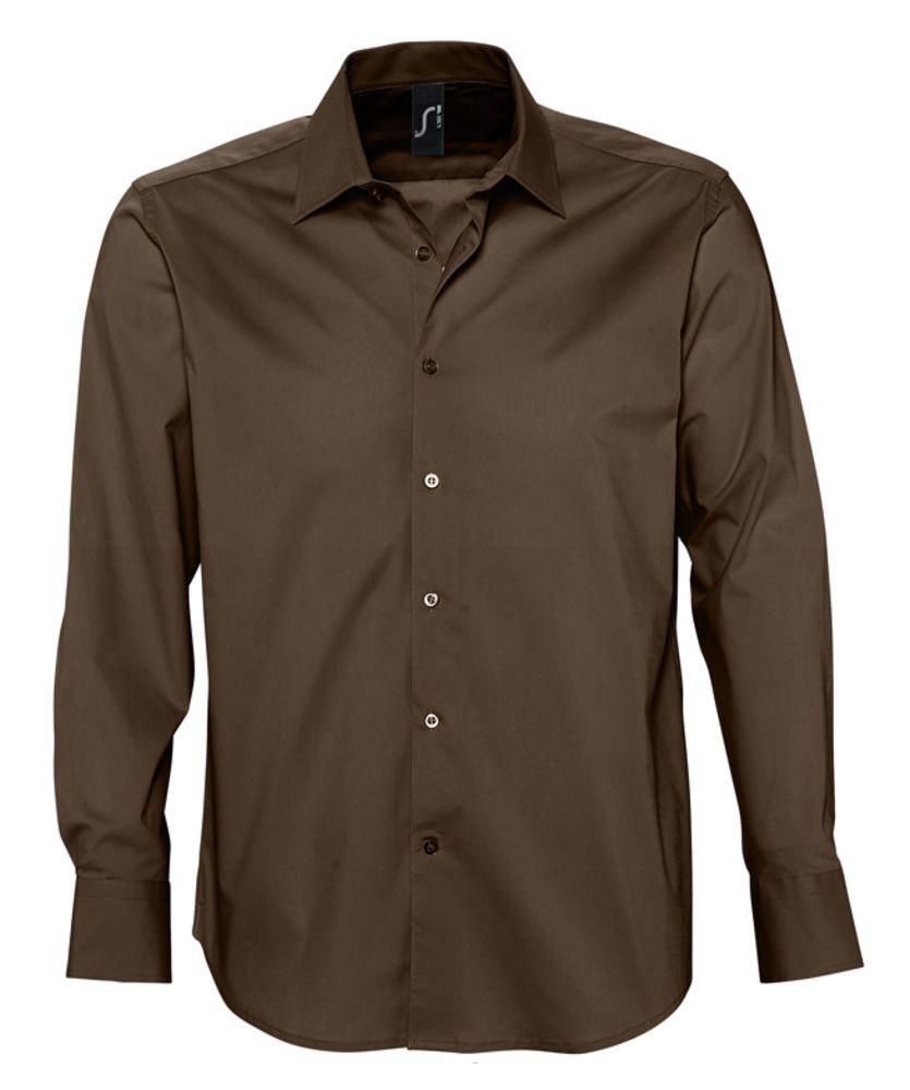 Фото - Рубашка мужская с длинным рукавом BRIGHTON темно-коричневая, размер 3XL рубашка женская с коротким рукавом excess темно коричневая размер l