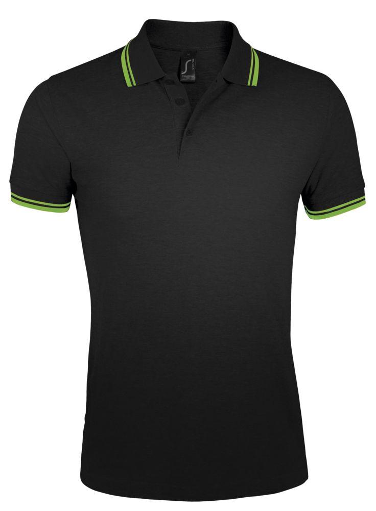 Фото - Рубашка поло мужская PASADENA MEN 200 с контрастной отделкой, черный/зеленый, размер XXL рубашка поло женская pasadena women 200 с контрастной отделкой черный зеленый размер xxl