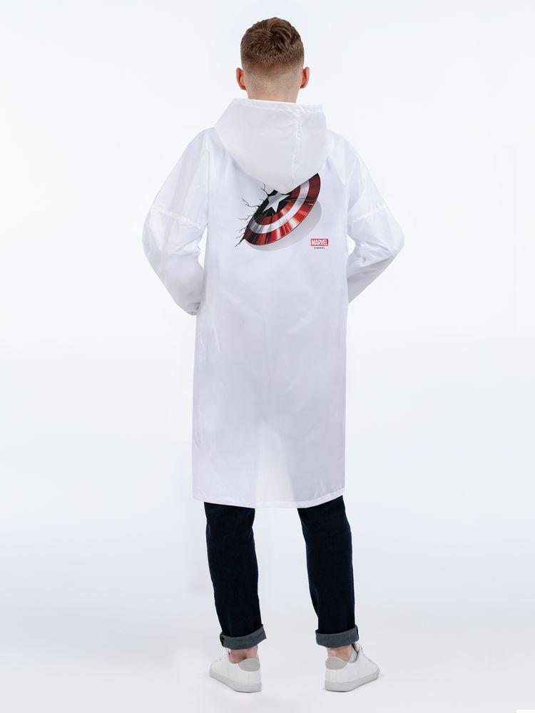 Дождевик «Щит Капитана Америки», белый, размер XL
