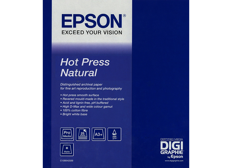 Фото - Epson Art Paper Hot Press Natural A3+, 330 г/м2, 25 листов (C13S042320) epson fine art paper hot press natural 60 300 г м2 1 524x15 м 76 мм c13s042326