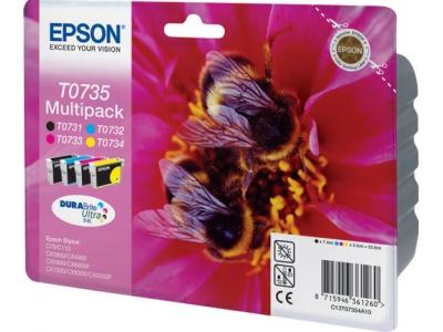 Фото - Набор цветных картриджей T0735 (C13T10554A10) набор картриджей для epson c13t10554a10 multi pack для epson stylus c79 cx3900 4900 5900 4 цвета black cyan magenta yellow