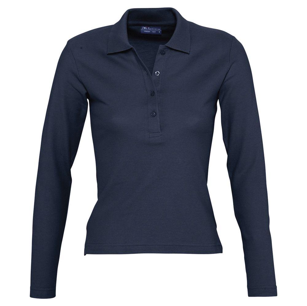 Рубашка поло женская с длинным рукавом PODIUM 210 темно-синяя, размер M фото