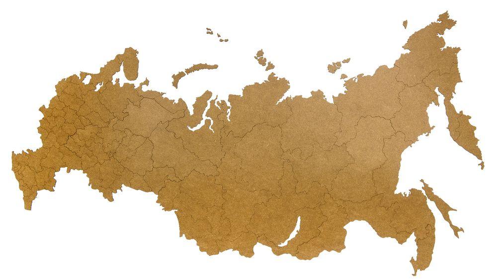 Деревянная карта России, коричневая