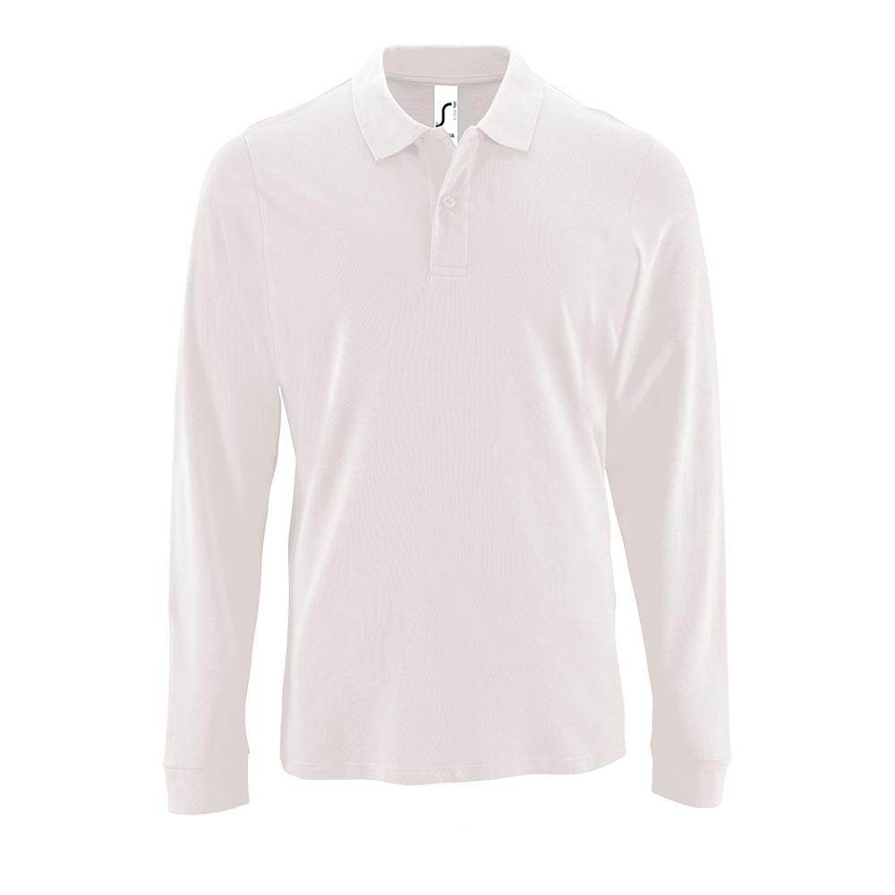 Рубашка поло мужская с длинным рукавом PERFECT LSL MEN белая, размер S рубашка поло мужская с длинным рукавом perfect lsl men зеленое яблоко размер s