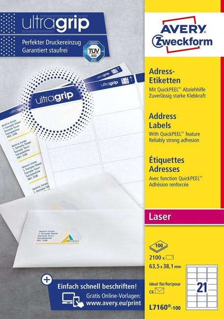 Адресные бумажные этикетки быстрого отклеивания QuickPEEL L7160-100 цена