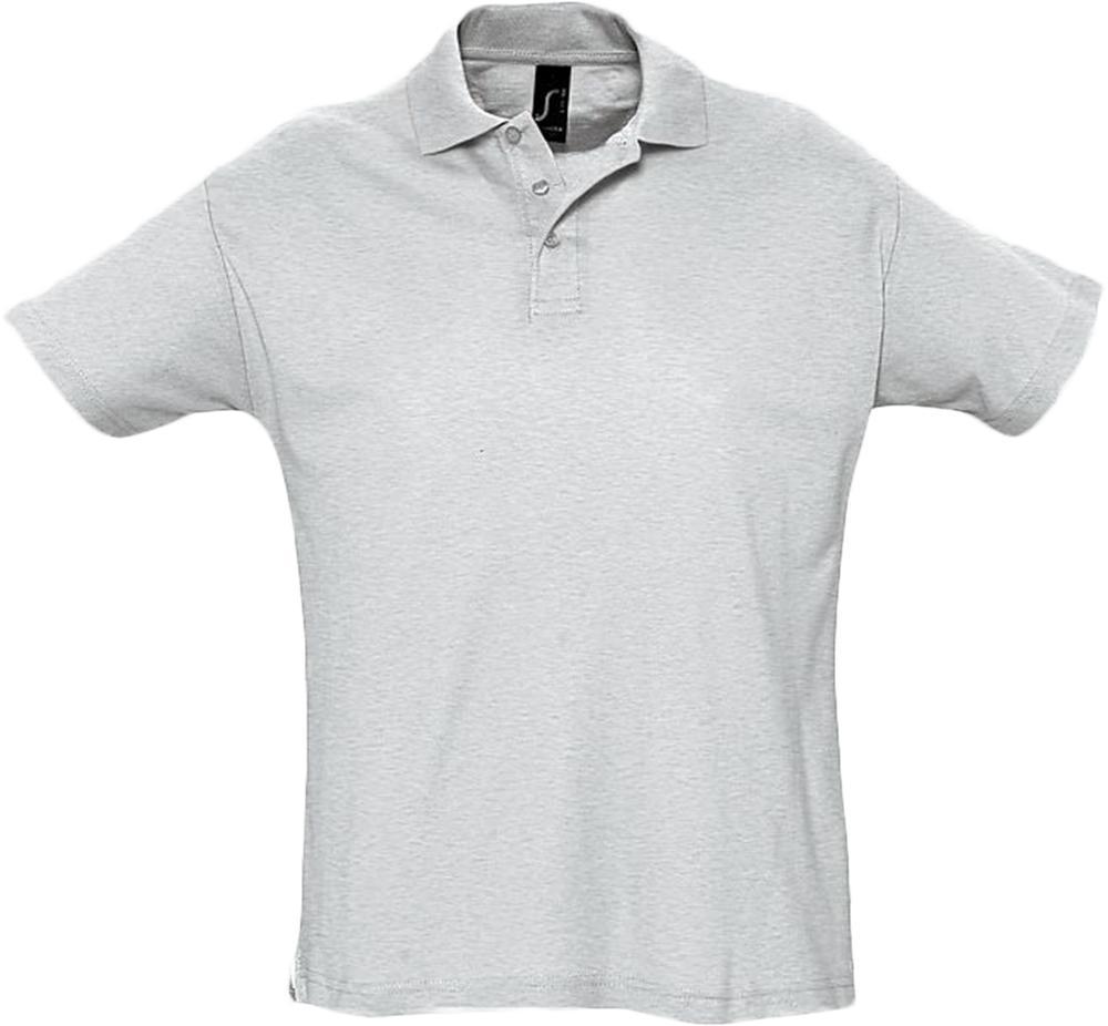 Рубашка поло мужская SUMMER 170 светло-серый меланж, размер XS