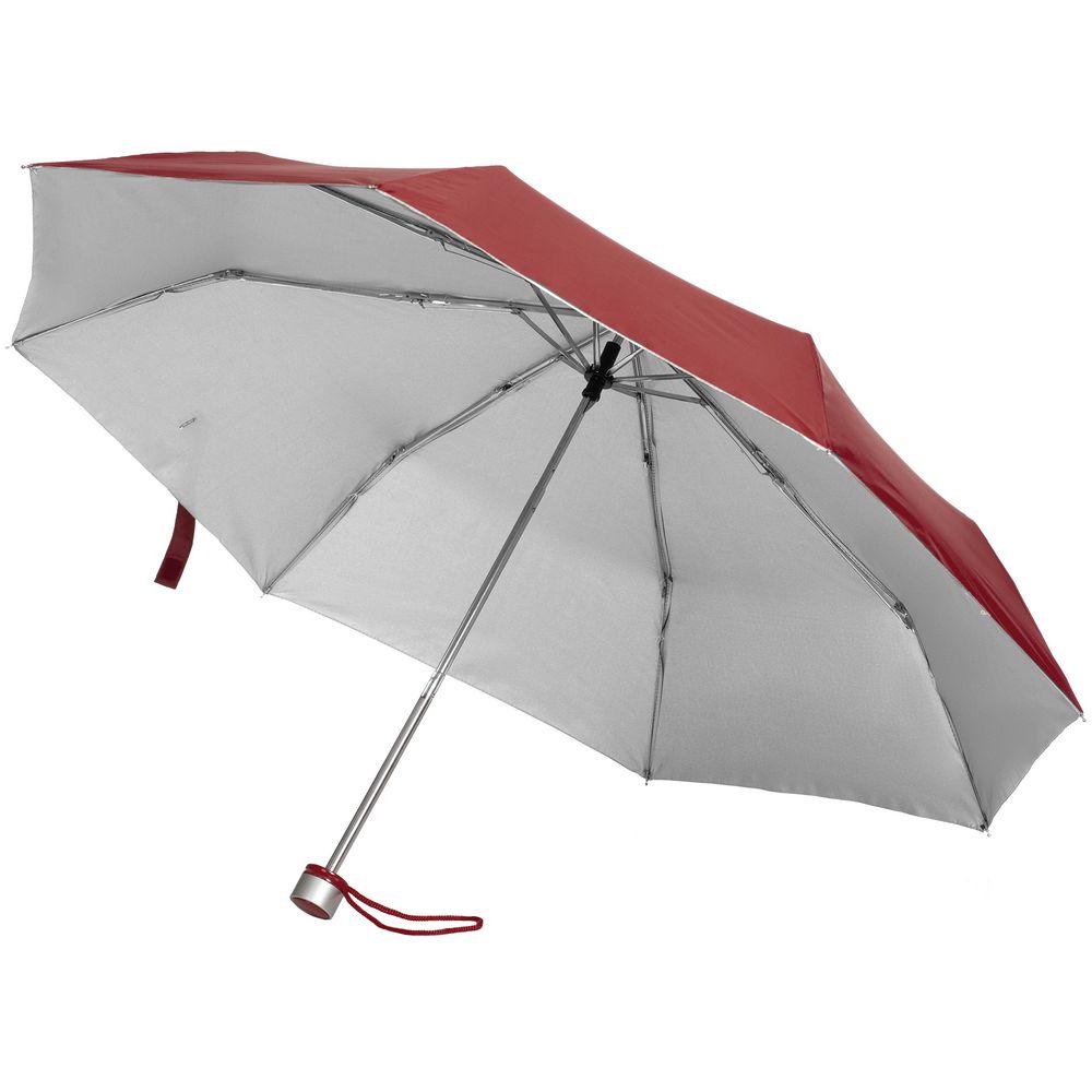 Зонт складной Silverlake, бордовый с серебристым складной зонт magic с проявляющимся рисунком фиолетовый