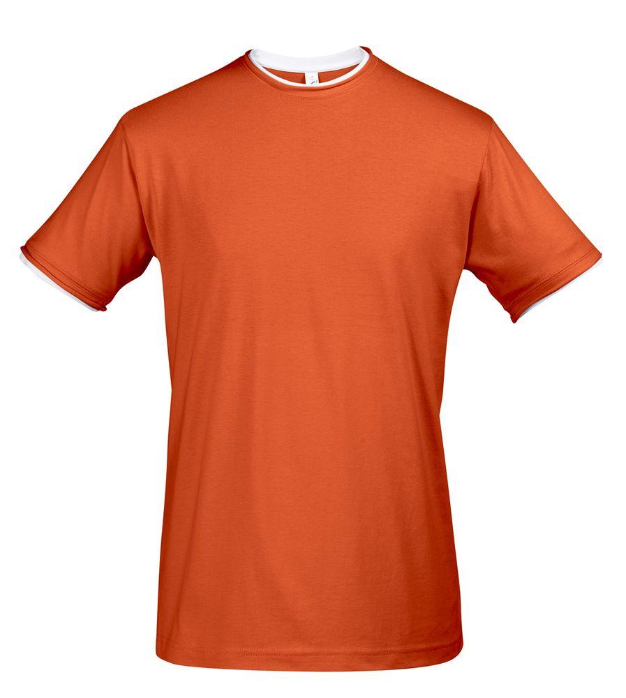 Футболка мужская с контрастной отделкой MADISON 170, оранжевый/белый, размер L фото