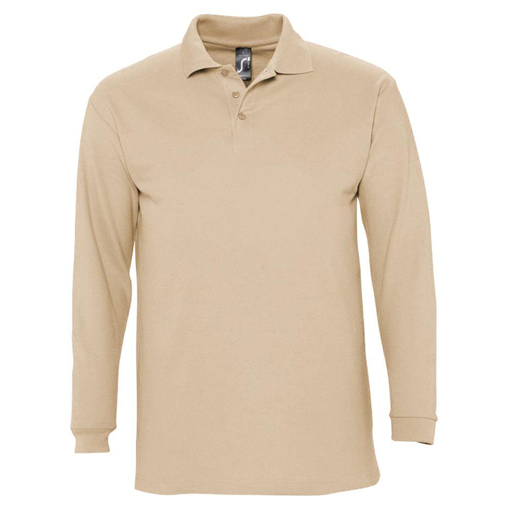 Рубашка поло мужская с длинным рукавом WINTER II 210 бежевая, размер S