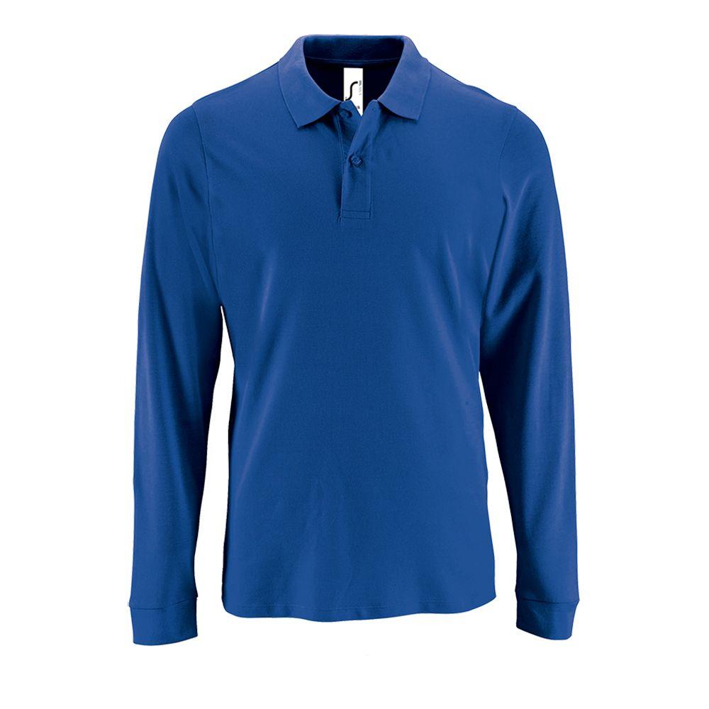 Рубашка поло мужская с длинным рукавом PERFECT LSL MEN ярко-синяя, размер XXL