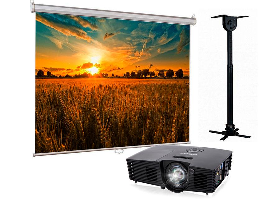 Фото - Проекционный экран Lumien Eco Picture 200x200 MW в комплекте с проектором Infocus IN114xv и потолочным креплением Wize WPС-B объектив для проектора sim2 m2 lens для sirio