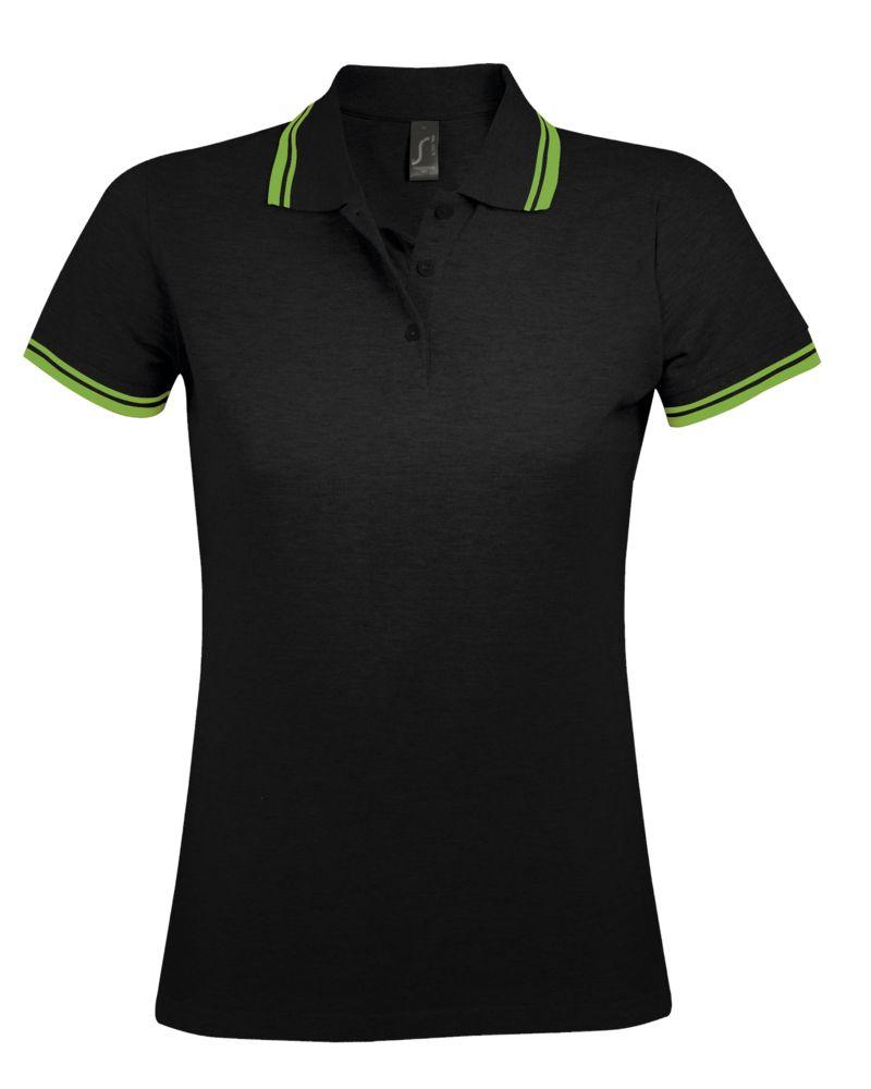 Рубашка поло женская PASADENA WOMEN 200 с контрастной отделкой, черный/зеленый, размер M рубашка женская top secret цвет зеленый ske0040zi размер 34 42