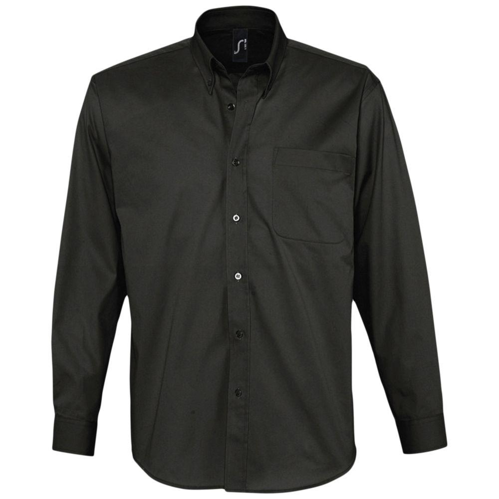 Рубашка мужская с длинным рукавом BEL AIR черная, размер 4XL