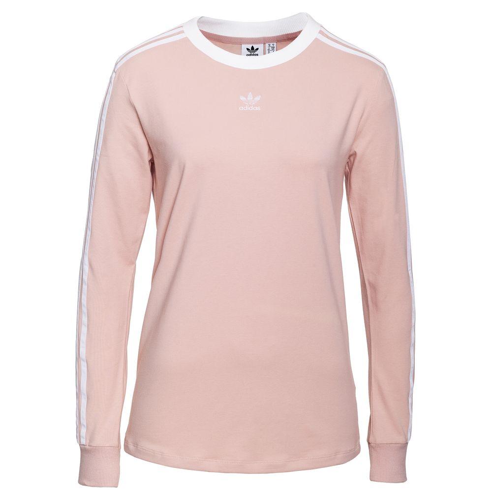 Футболка женская с длинным рукавом 3 Stripes LS, розовая, размер XL