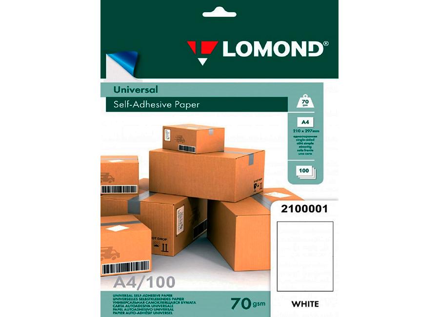 Картинка для Самоклеящаяся бумага Lomond универсальная для этикеток, A4, неделённая, 70 г/м2, 100 листов (2100001)