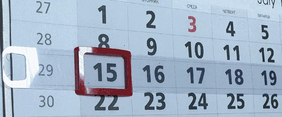 Календарные курсоры на жесткой ленте, 3-ий размер, 145-296 мм, 100 шт, красные