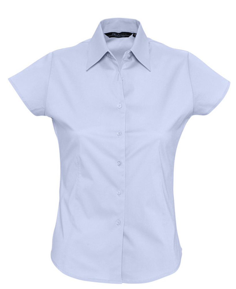 Фото - Рубашка женская с коротким рукавом EXCESS голубая, размер S рубашка женская с коротким рукавом excess темно коричневая размер l