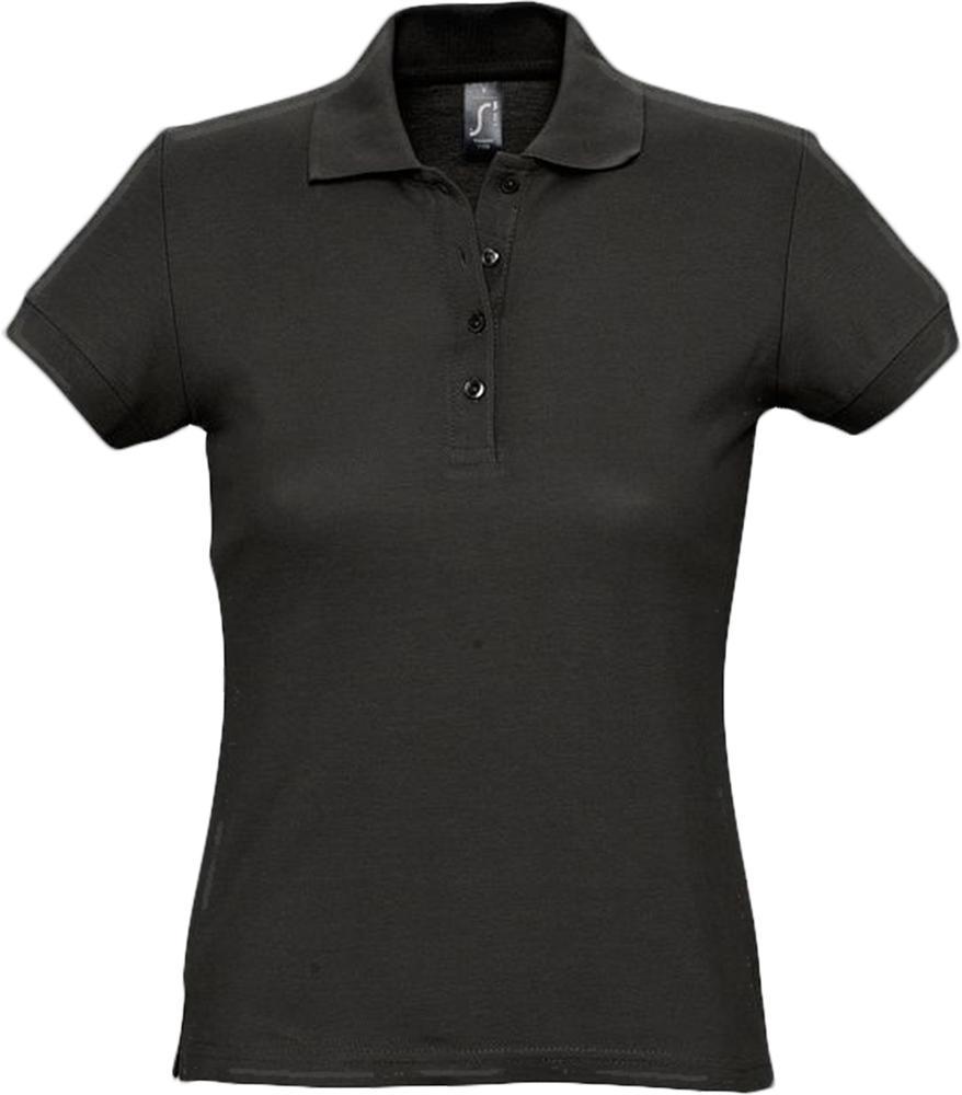 цена Рубашка поло женская PASSION 170 черная, размер XL онлайн в 2017 году