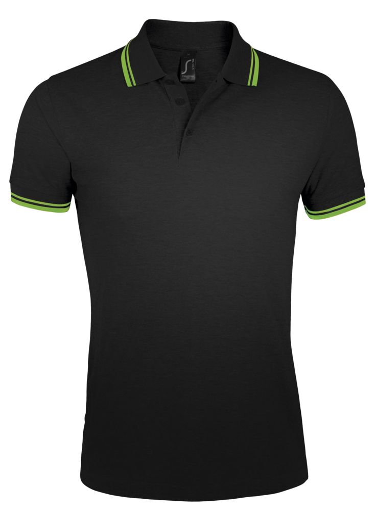 цена Рубашка поло мужская PASADENA MEN 200 с контрастной отделкой, черный/зеленый, размер S онлайн в 2017 году