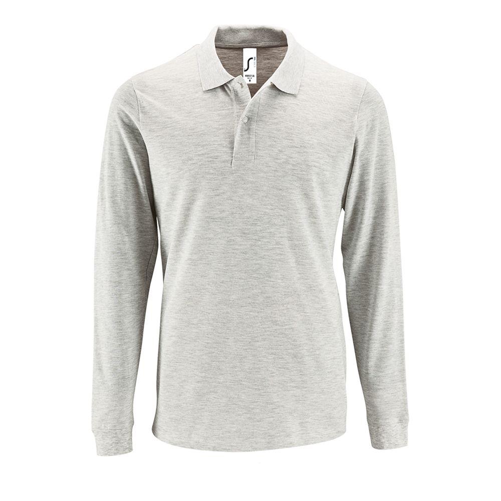 Фото - Рубашка поло мужская с длинным рукавом Perfect LSL Men светло-серый меланж, размер 3XL футболка мужская marvin серый меланж размер 3xl