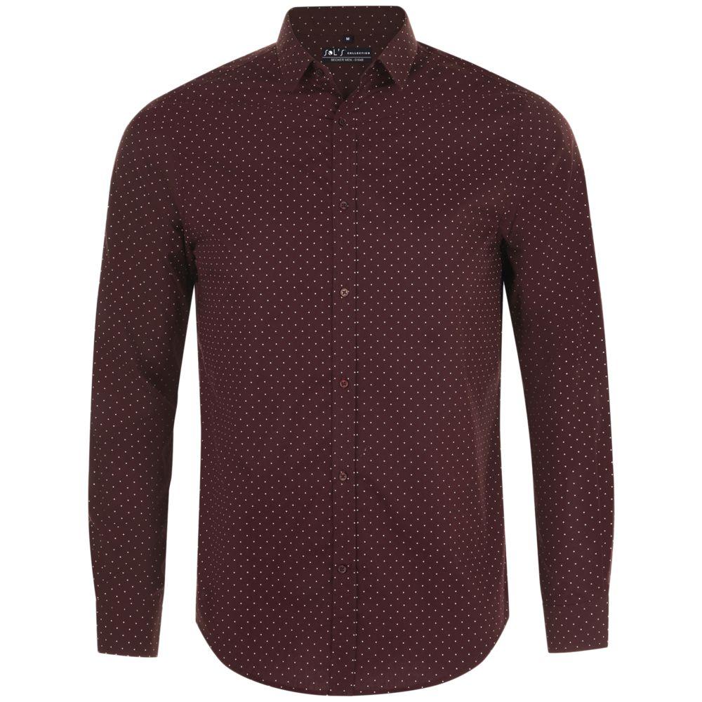 Рубашка мужская BECKER MEN, бордовая с белым, размер 3XL