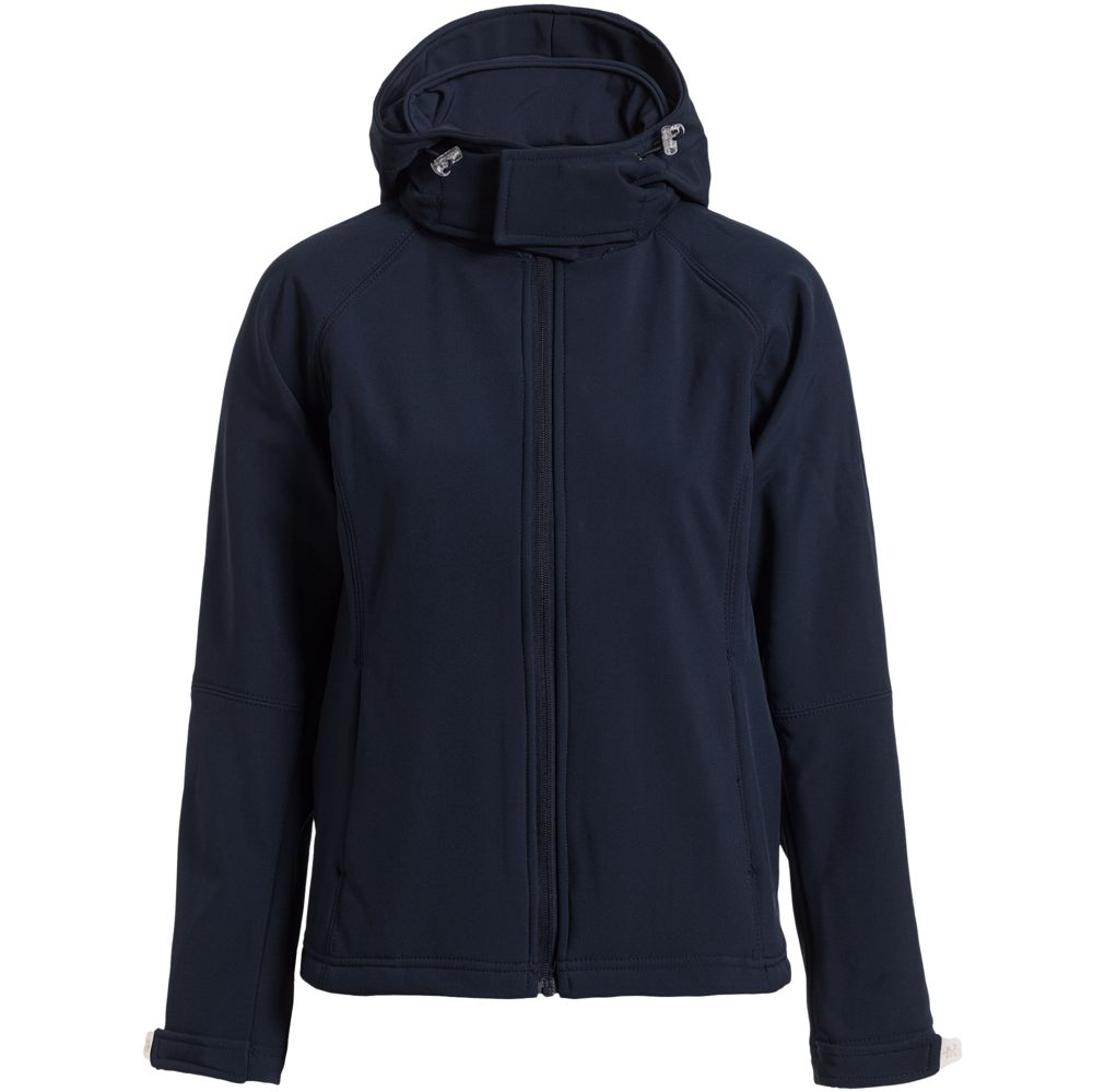 цена Куртка женская Hooded Softshell темно-синяя, размер XL онлайн в 2017 году