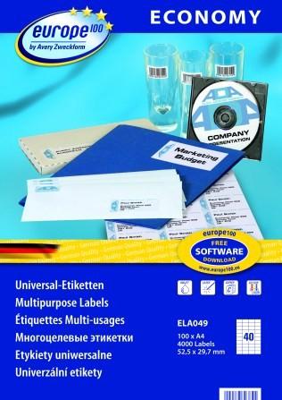 Самоклеящиеся этикетки Europe100 ELA049 avery zweckform этикетки самоклеящиеся универсальные quick peel 48 5 х 16 9 мм 6400 шт 100 листов