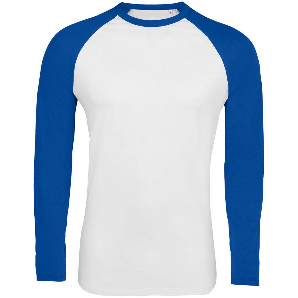 Футболка мужская с длинным рукавом FUNKY LSL белая с ярко-синим, размер XL фото
