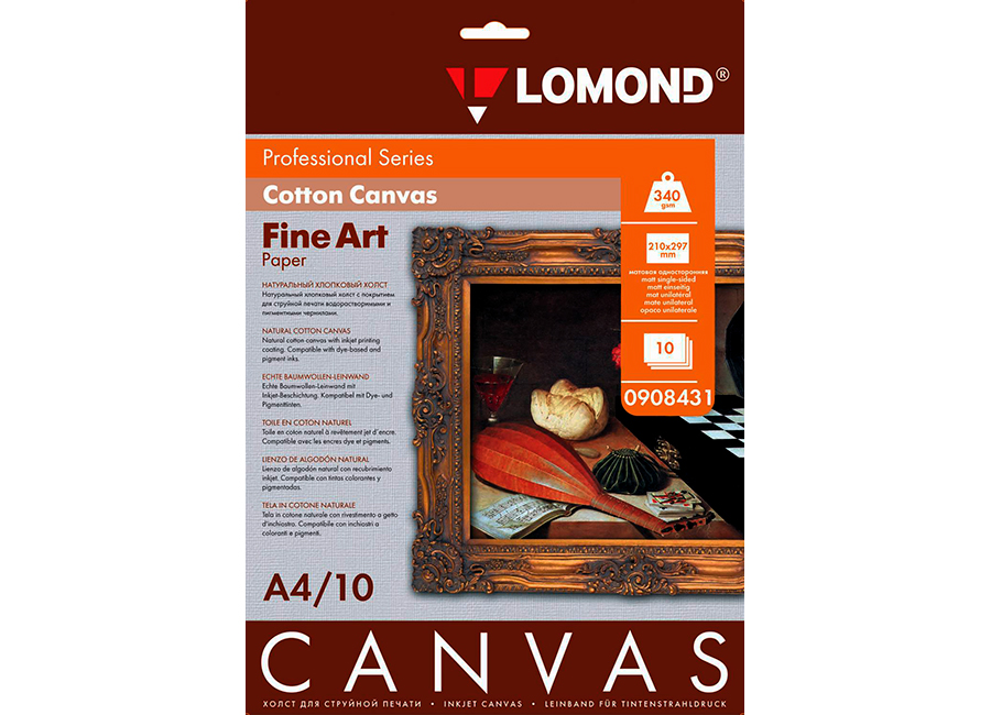 Фото - Lomond Fine-Art Cotton Canvas Natural Bright White, А4, 340 г/м2, 10 листов (0908431) мелованный картон app c2s art board delight gloss 310 г м2 45x32 см 100 листов