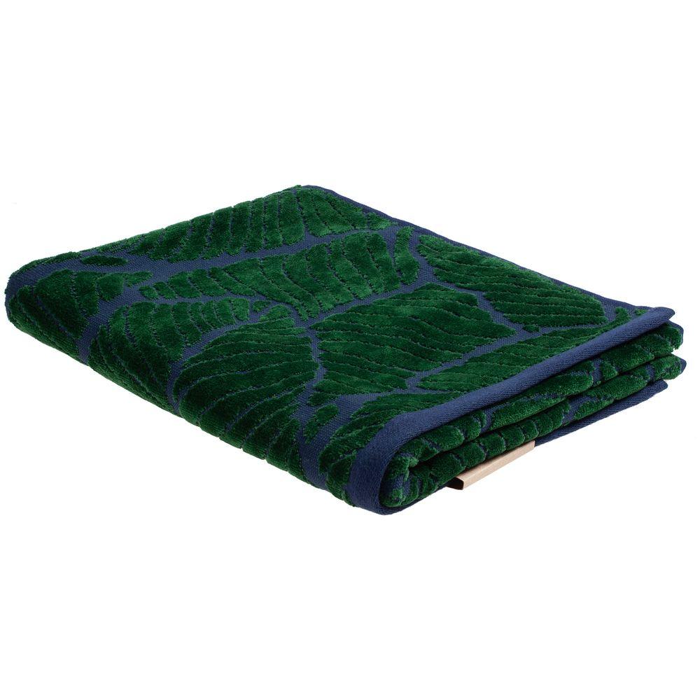 Полотенце In Leaf, малое, синее с зеленым полотенце с именной вышивкой синее