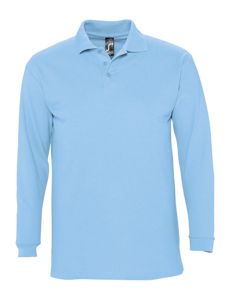 Фото - Рубашка поло мужская с длинным рукавом WINTER II 210 голубая, размер L рубашка мужская с коротким рукавом brisbane голубая размер l