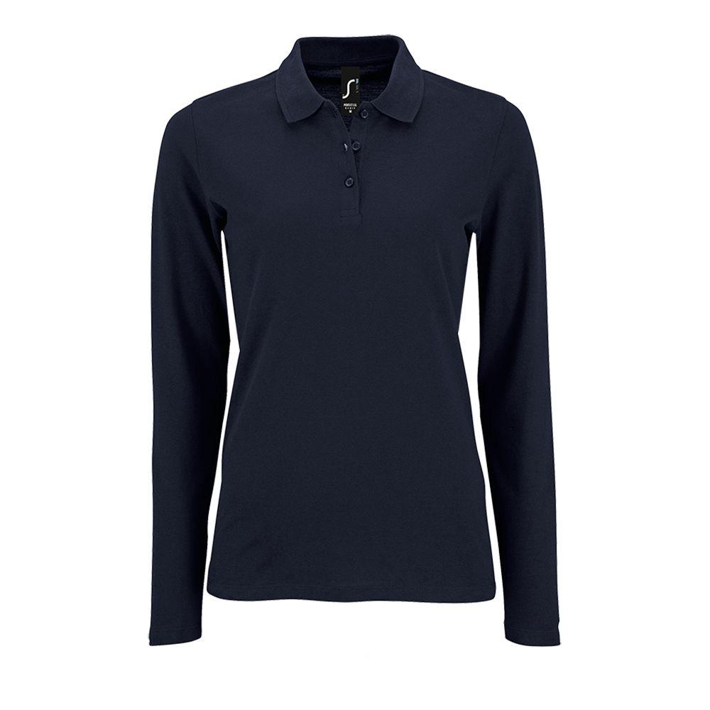Фото - Рубашка поло женская с длинным рукавом PERFECT LSL WOMEN темно-синяя, размер L рубашка женская с коротким рукавом excess темно коричневая размер l