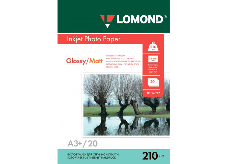 для струйной печати, A3+, 210 г/м2, 20 листов, двусторонняя, глянцевая/матовая (0102027) фото бумага canon pt 101 4 x6 300 г м2 20 листов